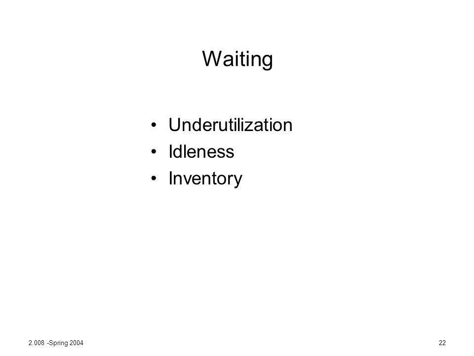 2.008 -Spring 200422 Waiting Underutilization Idleness Inventory