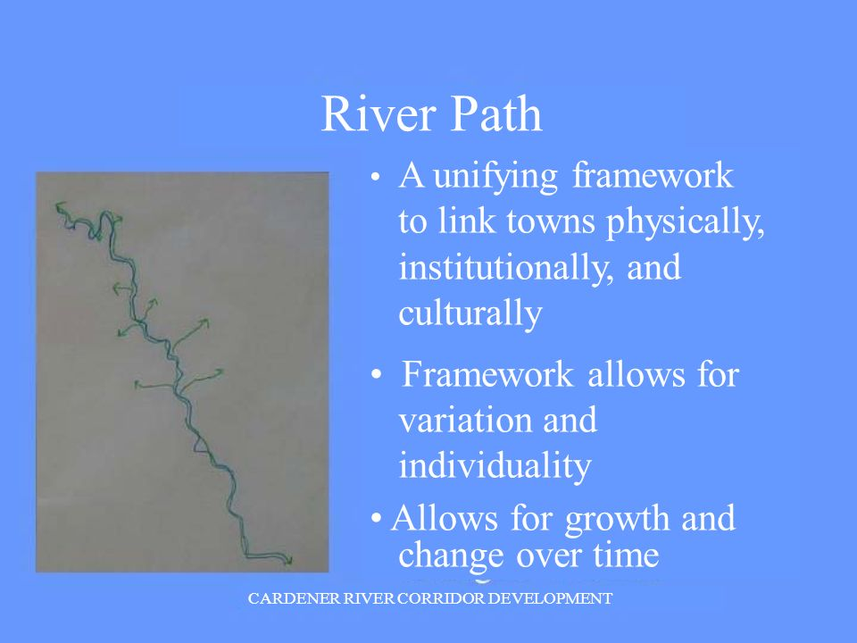 River Path A unifying framework to link towns physically, institutionally, and culturally Framework allows for variation and individuality Allows for growth and change over time CARDENER RIVER CORRIDOR DEVELOPMENT