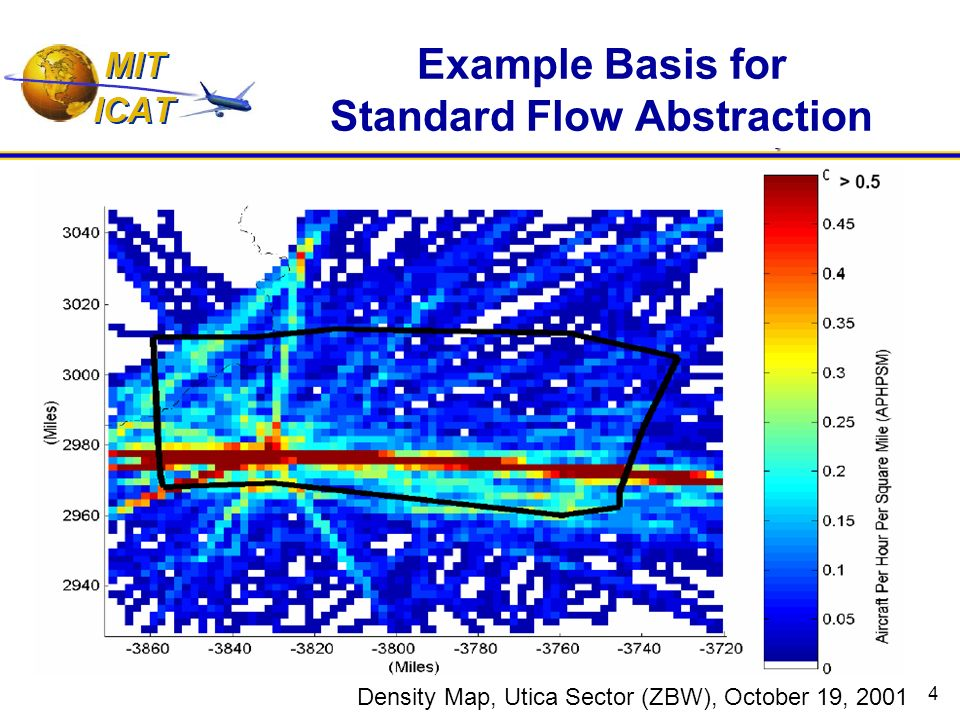 4 Example Basis for Standard Flow Abstraction Density Map, Utica Sector (ZBW), October 19, 2001