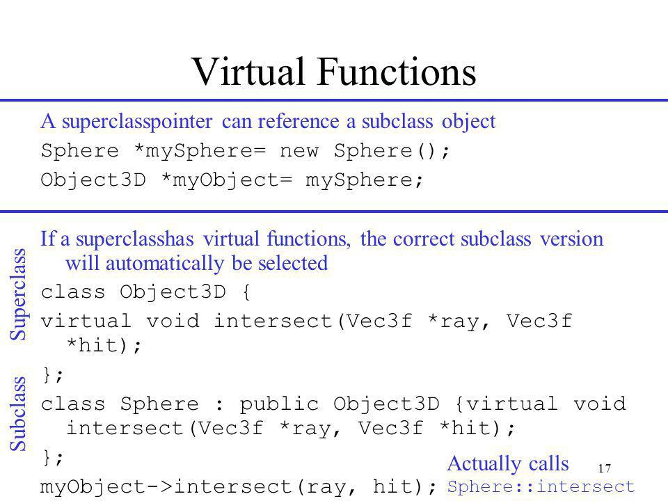 17 Virtual Functions A superclasspointer can reference a subclass object Sphere *mySphere= new Sphere(); Object3D *myObject= mySphere; If a superclasshas virtual functions, the correct subclass version will automatically be selected class Object3D { virtual void intersect(Vec3f *ray, Vec3f *hit); }; class Sphere : public Object3D {virtual void intersect(Vec3f *ray, Vec3f *hit); }; myObject->intersect(ray, hit); Actually calls Sphere::intersect Subclass Superclass