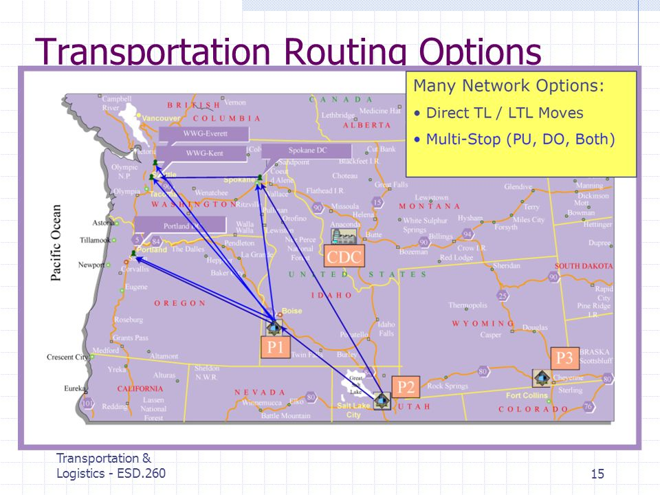 MIT Center for Transportation & Logistics - ESD.26015 Transportation Routing Options