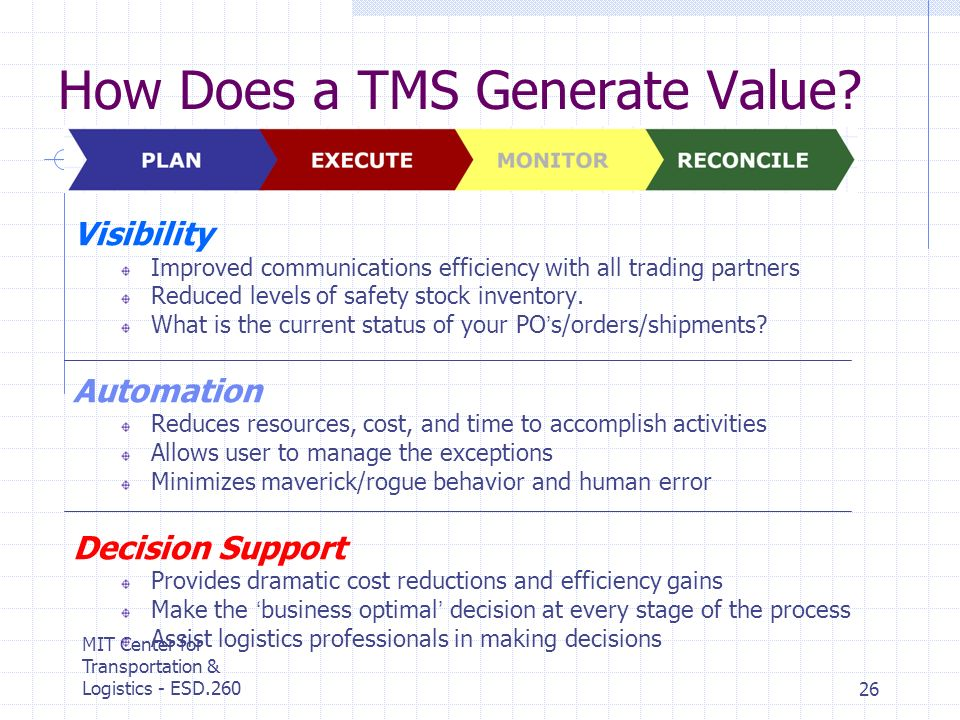 MIT Center for Transportation & Logistics - ESD.26026 How Does a TMS Generate Value? Visibility Improved communications efficiency with all trading pa