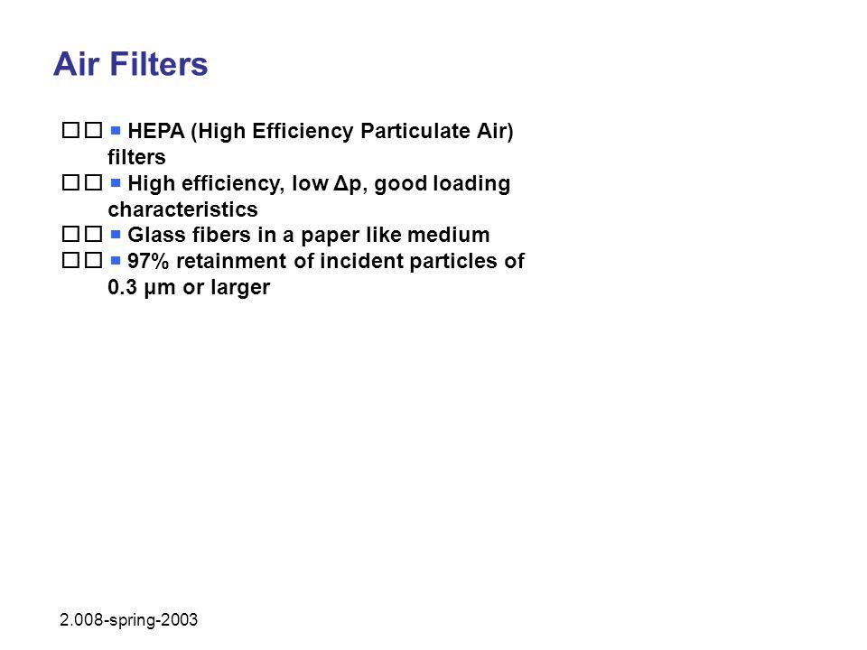 Air Filters HEPA (High Efficiency Particulate Air) filters High efficiency, low Δp, good loading characteristics Glass fibers in a paper like medium 9