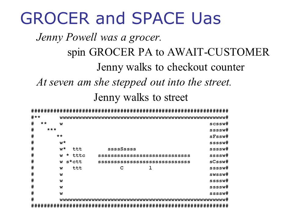 GROCER and SPACE Uas Jenny Powell was a grocer. spin GROCER PA to AWAIT-CUSTOMER Jenny walks to checkout counter At seven am she stepped out into the