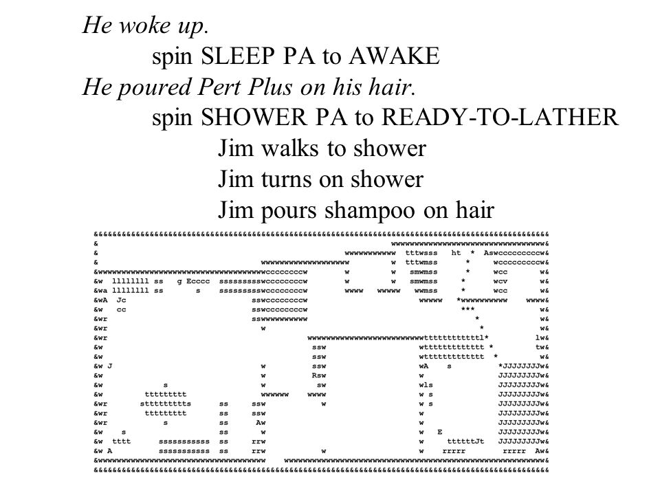 He woke up. spin SLEEP PA to AWAKE He poured Pert Plus on his hair. spin SHOWER PA to READY-TO-LATHER Jim walks to shower Jim turns on shower Jim pour