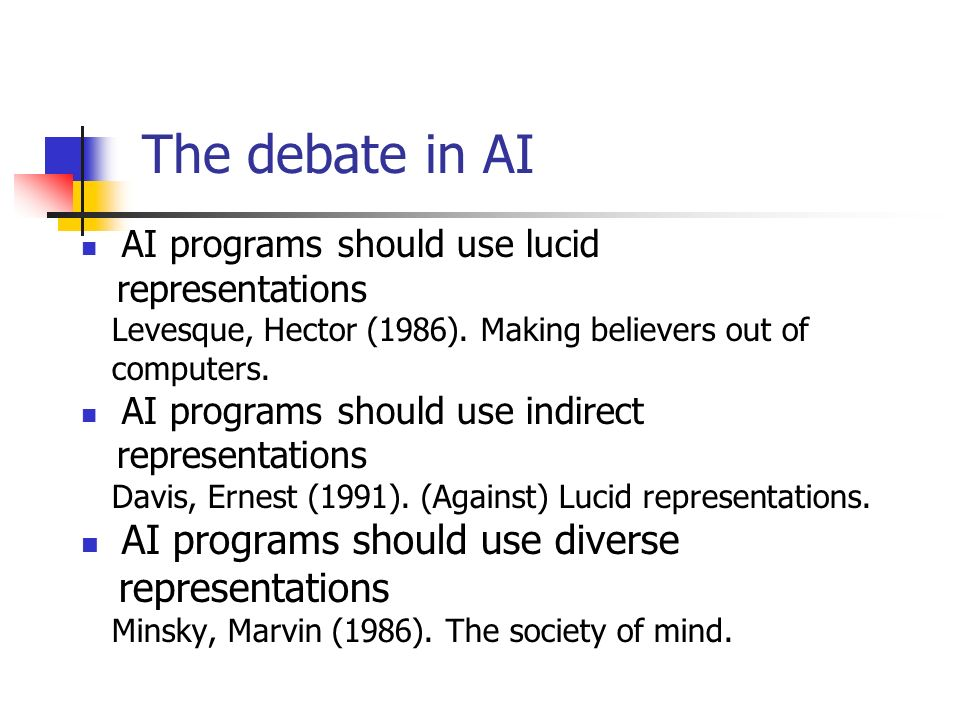The debate in AI AI programs should use lucid representations Levesque, Hector (1986). Making believers out of computers. AI programs should use indir