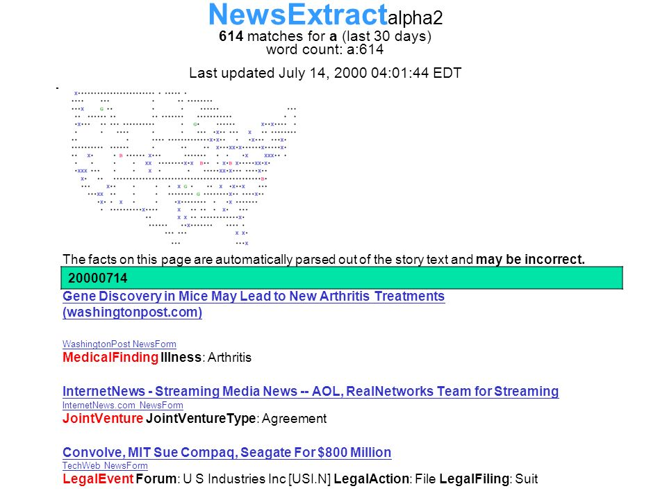 NewsExtract alpha2 614 matches for a (last 30 days) word count: a:614 Last updated July 14, 2000 04:01:44 EDT The facts on this page are automatically