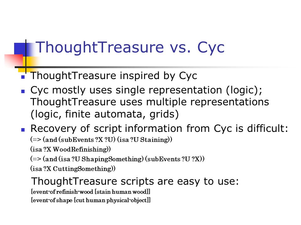 ThoughtTreasure vs. Cyc ThoughtTreasure inspired by Cyc Cyc mostly uses single representation (logic); ThoughtTreasure uses multiple representations (