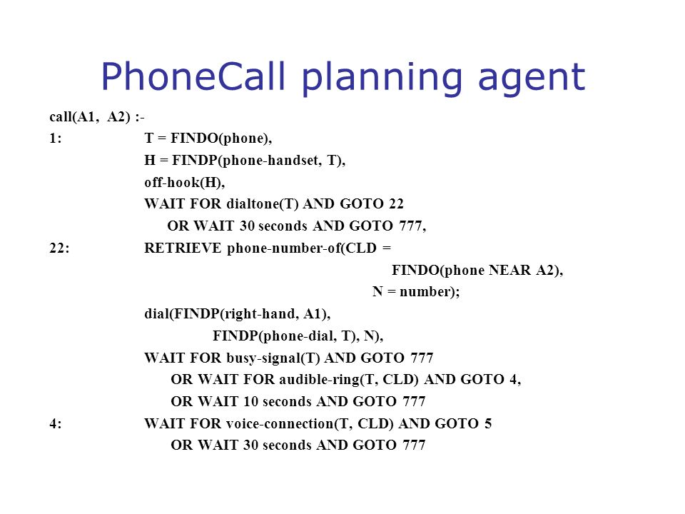 PhoneCall planning agent call(A1, A2) :- 1: T = FINDO(phone), H = FINDP(phone-handset, T), off-hook(H), WAIT FOR dialtone(T) AND GOTO 22 OR WAIT 30 se
