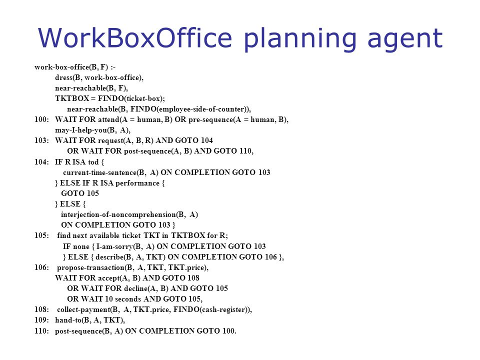 WorkBoxOffice planning agent work-box-office(B, F) :- dress(B, work-box-office), near-reachable(B, F), TKTBOX = FINDO(ticket-box); near-reachable(B, F