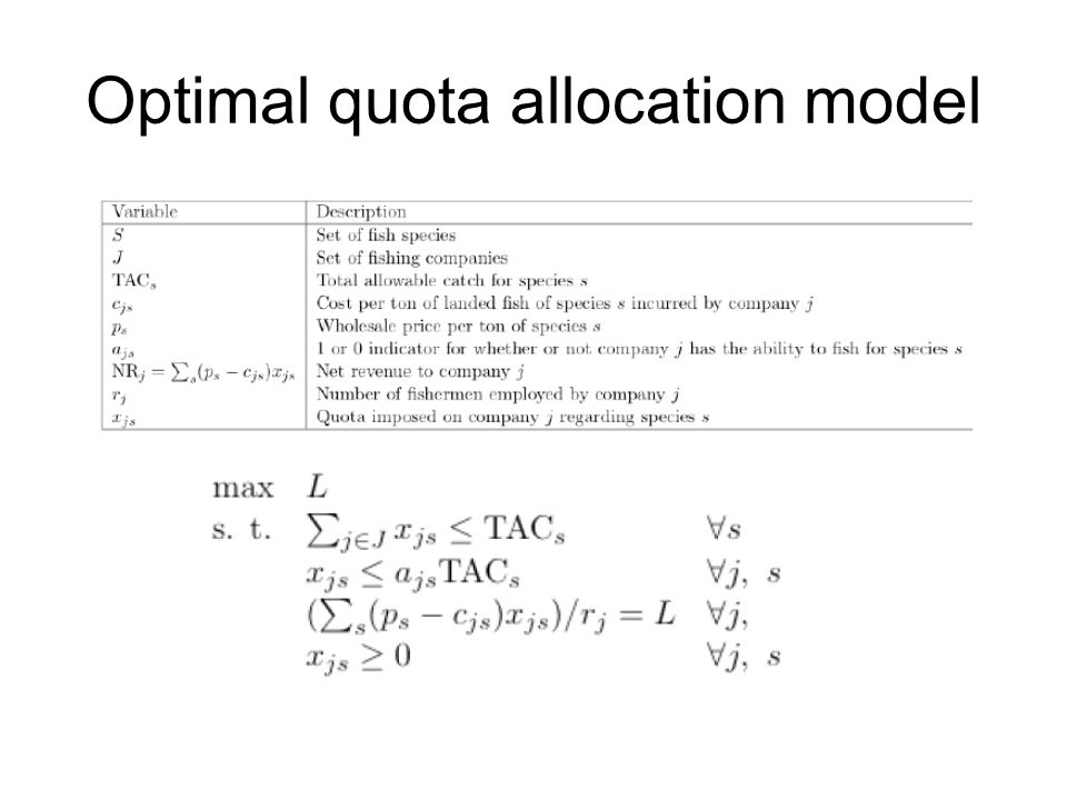 Optimal quota allocation model