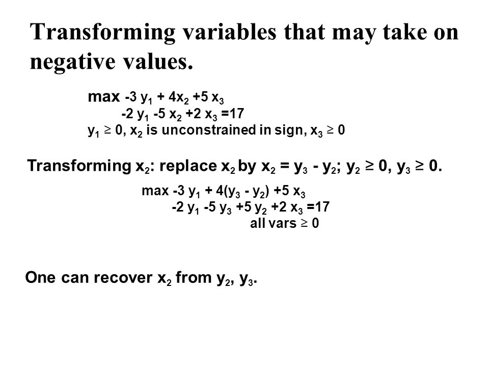 Transforming variables that may take on negative values. max -3 y 1 + 4x 2 +5 x 3 -2 y 1 -5 x 2 +2 x 3 =17 y 1 0, x 2 is unconstrained in sign, x 3 0