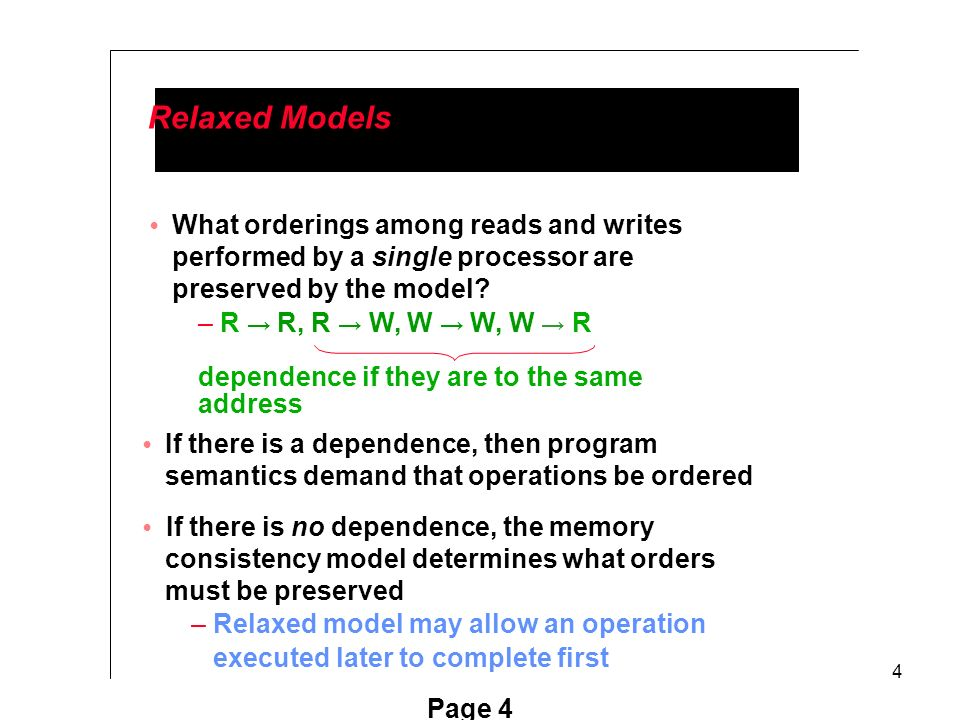 4 Relaxed Models What orderings among reads and writes performed by a single processor are preserved by the model.