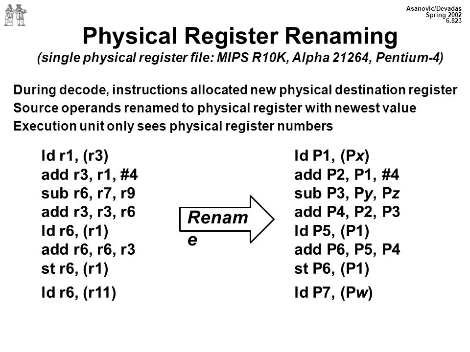Asanovic/Devadas Spring Physical Register Renaming (single physical register file: MIPS R10K, Alpha 21264, Pentium-4) During decode, instructions allocated new physical destination register Source operands renamed to physical register with newest value Execution unit only sees physical register numbers ld r1, (r3) add r3, r1, #4 sub r6, r7, r9 add r3, r3, r6 ld r6, (r1) add r6, r6, r3 st r6, (r1) ld r6, (r11) Renam e ld P1, (Px) add P2, P1, #4 sub P3, Py, Pz add P4, P2, P3 ld P5, (P1) add P6, P5, P4 st P6, (P1) ld P7, (Pw)