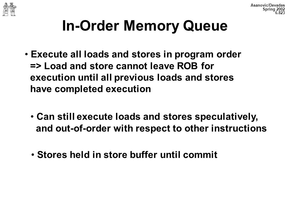 Asanovic/Devadas Spring In-Order Memory Queue Execute all loads and stores in program order => Load and store cannot leave ROB for execution until all previous loads and stores have completed execution Can still execute loads and stores speculatively, and out-of-order with respect to other instructions Stores held in store buffer until commit