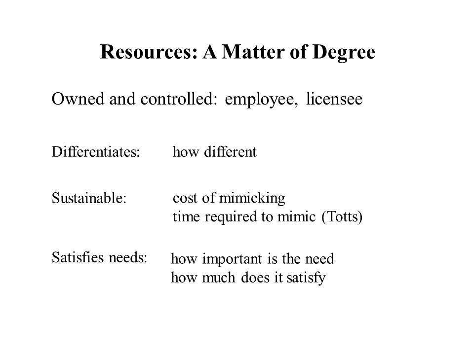 Resources: A Matter of Degree Owned and controlled: employee, licensee Differentiates: Sustainable: Satisfies needs: how different cost of mimicking t