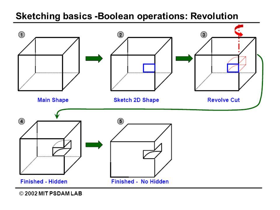 Sketching basics -Boolean operations: Revolution © 2002 MIT PSDAM LAB