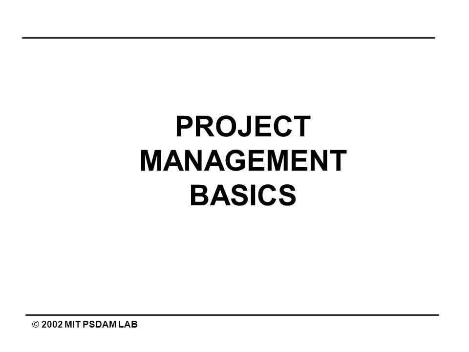 PROJECT MANAGEMENT BASICS © 2002 MIT PSDAM LAB