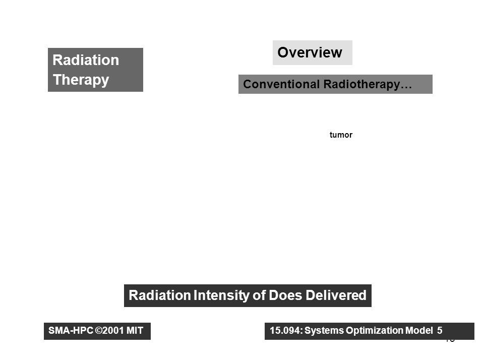 18 Radiation Therapy Overview Conventional Radiotherapy… tumor Radiation Intensity of Does Delivered SMA-HPC ©2001 MIT15.094: Systems Optimization Model 5