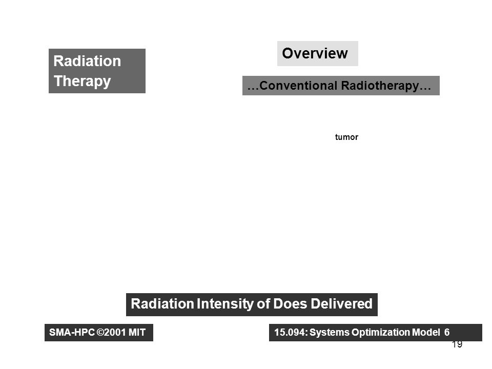 19 Radiation Therapy Overview …Conventional Radiotherapy… tumor Radiation Intensity of Does Delivered SMA-HPC ©2001 MIT15.094: Systems Optimization Model 6