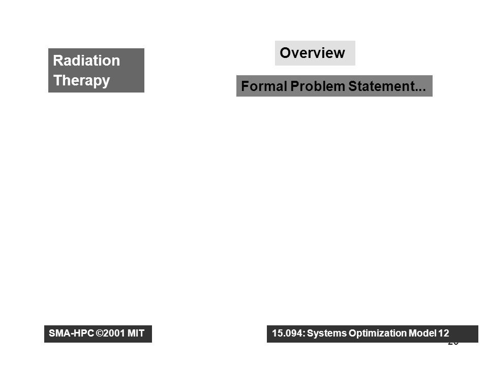 25 Radiation Therapy Overview Formal Problem Statement...
