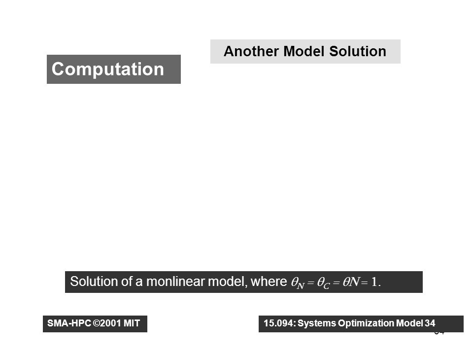 34 Computation Another Model Solution Solution of a monlinear model, where θ N = θ C = θN = 1.