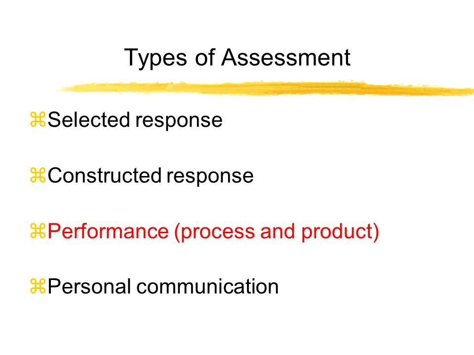 Types of Assessment Selected response Constructed response Performance (process and product) Personal communication