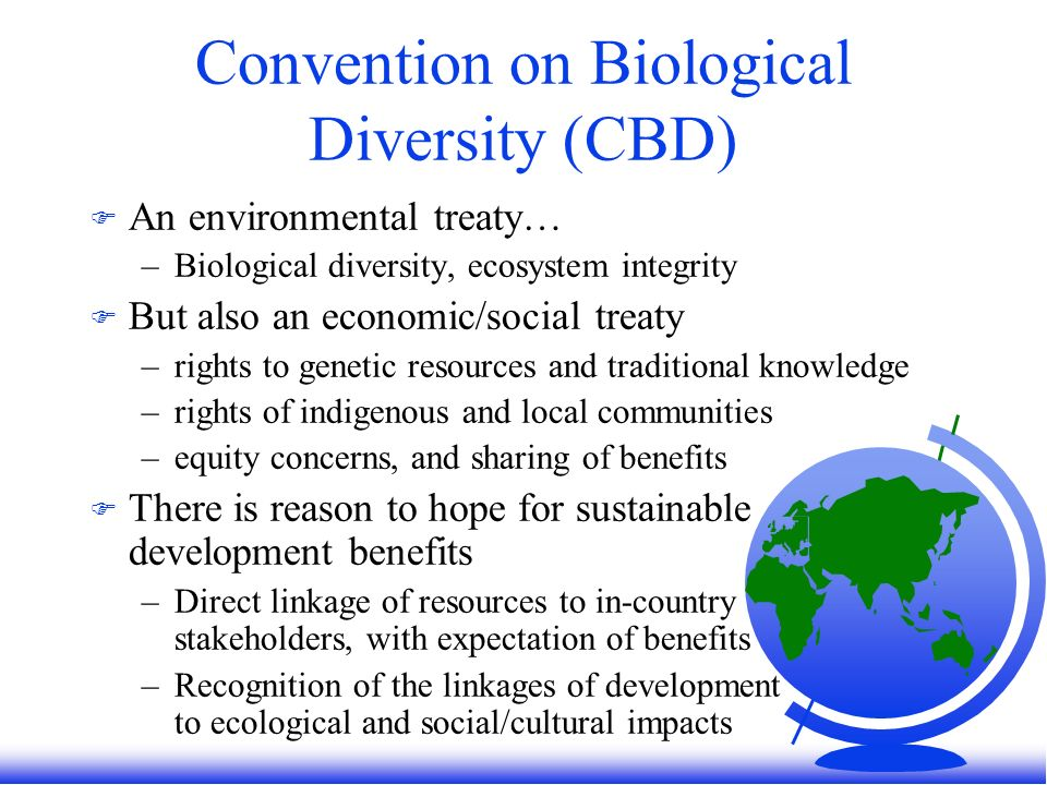 Convention on Biological Diversity (CBD) F An environmental treaty… –Biological diversity, ecosystem integrity F But also an economic/social treaty –rights to genetic resources and traditional knowledge –rights of indigenous and local communities –equity concerns, and sharing of benefits F There is reason to hope for sustainable development benefits –Direct linkage of resources to in-country stakeholders, with expectation of benefits –Recognition of the linkages of development to ecological and social/cultural impacts