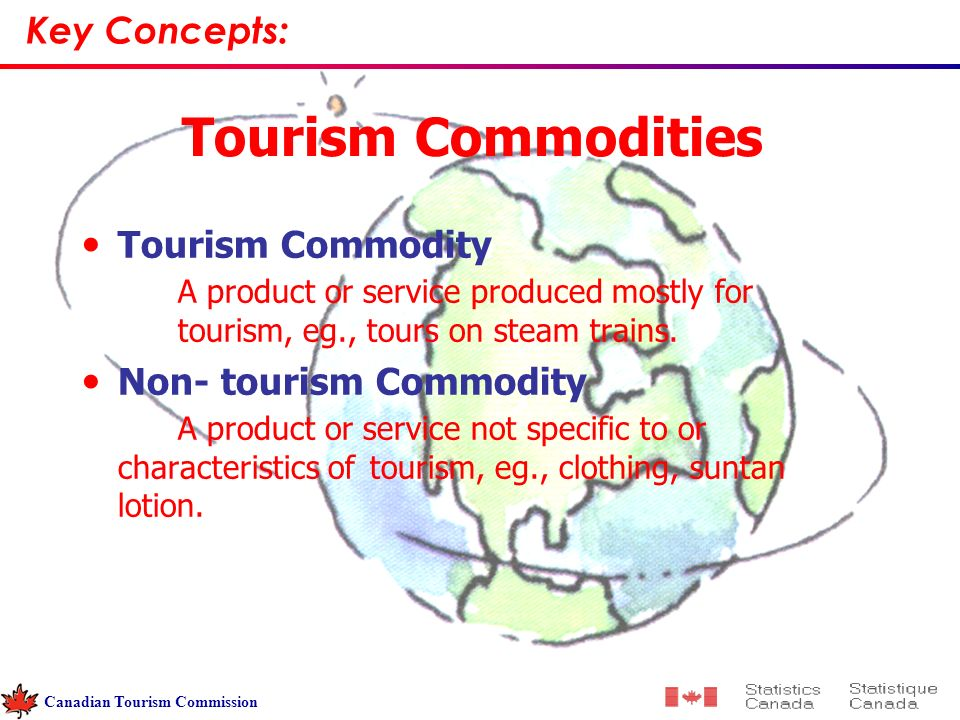 Tourism Commodities Tourism Commodity A product or service produced mostly for tourism, eg., tours on steam trains.