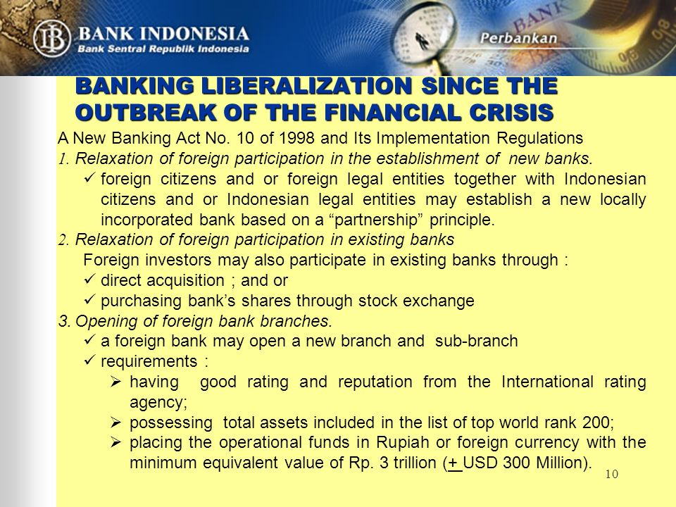 10 BANKING LIBERALIZATION SINCE THE OUTBREAK OF THE FINANCIAL CRISIS A New Banking Act No. 10 of 1998 and Its Implementation Regulations 1. Relaxation