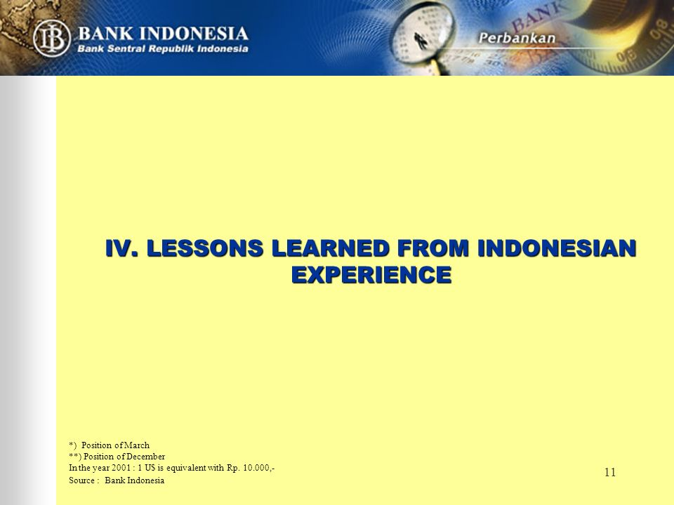 11 IV. LESSONS LEARNED FROM INDONESIAN EXPERIENCE *) Position of March **) Position of December In the year 2001 : 1 U$ is equivalent with Rp. 10.000,