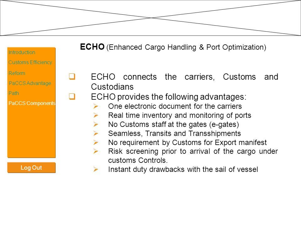 Log Out Introduction Customs Efficiency Reform PaCCS Advantage Path PaCCS Components ECHO (Enhanced Cargo Handling & Port Optimization) ECHO connects