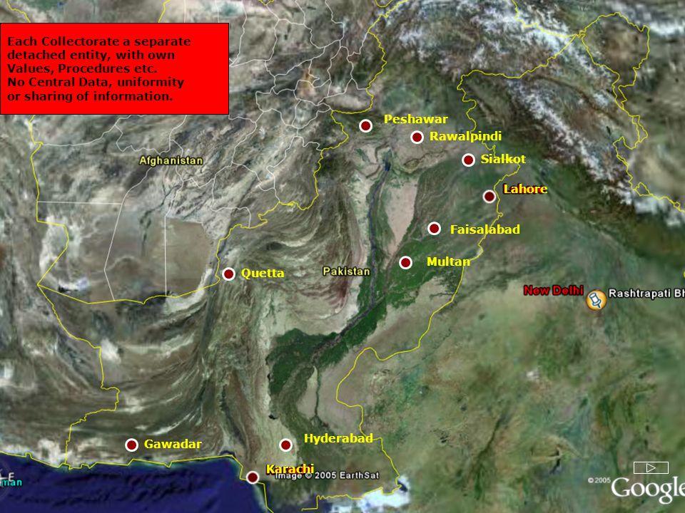 Faisalabad Lahore Karachi Multan Rawalpindi Peshawar Gawadar Hyderabad Quetta Sialkot Each Collectorate a separate detached entity, with own Values, P