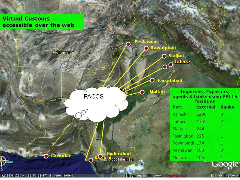 Faisalabad Lahore Karachi Multan Rawalpindi Peshawar Gawadar Hyderabad Quetta Importers, Exporters, agents & banks using PACCS facilities Portexternal