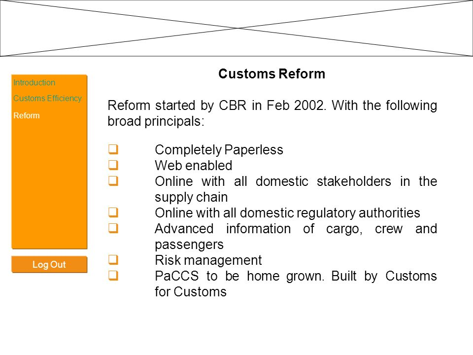 Log Out Introduction Customs Efficiency Reform Customs Reform Reform started by CBR in Feb 2002. With the following broad principals: Completely Paper