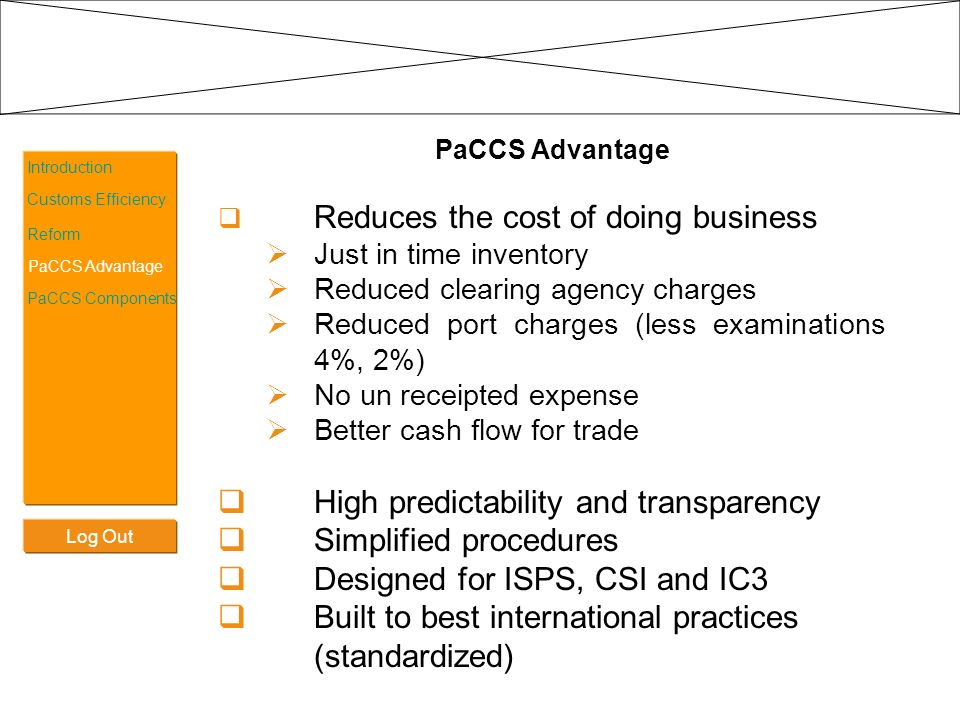 Log Out Introduction Customs Efficiency Reform PaCCS Advantage PaCCS Components PACCS Components PACCS comprises of four essential components: TARIP (Tariff & Integrated Policy) INTRA (Integrated Regulatory Authorities) ECHO (Enhanced Cargo Handling & Port Optimization) ACCESS (Automated Customs Clearance System)
