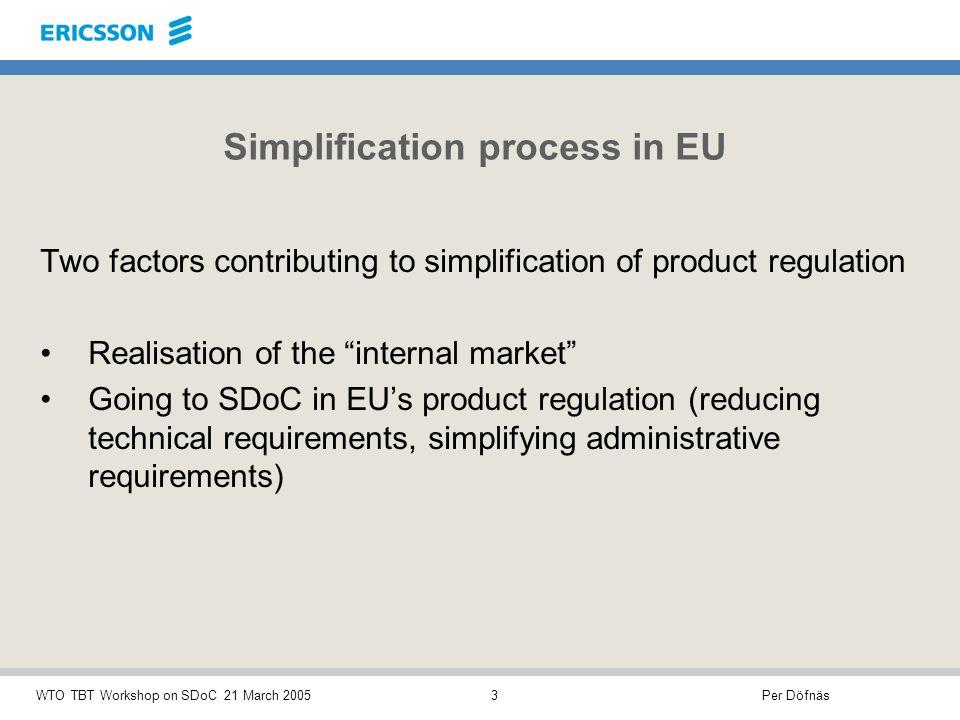 Per DöfnäsWTO TBT Workshop on SDoC 21 March 20054 Simplification process in EU 1.