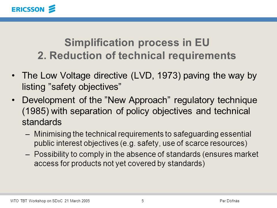 Per DöfnäsWTO TBT Workshop on SDoC 21 March 20056 Simplification process in EU 3.