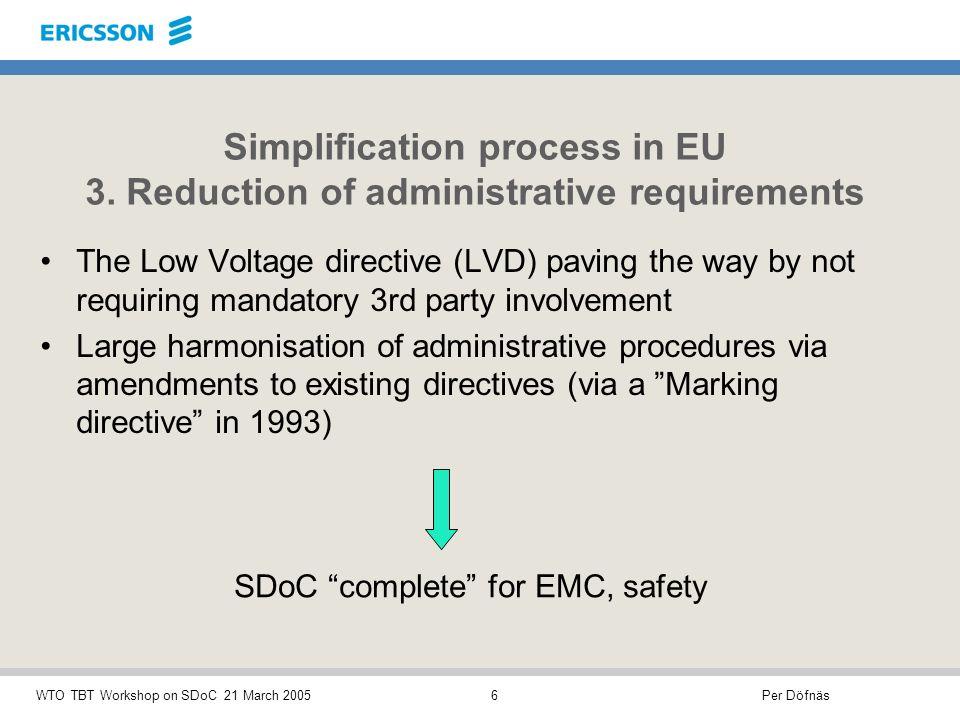 Per DöfnäsWTO TBT Workshop on SDoC 21 March 20057 Simplification process in EU 4.