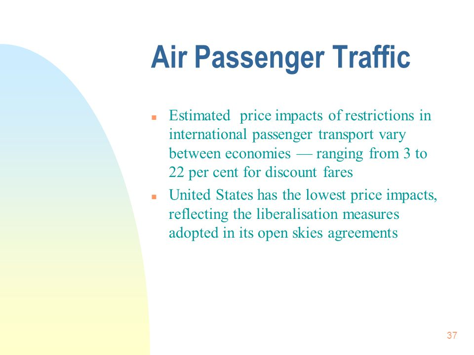37 Air Passenger Traffic n Estimated price impacts of restrictions in international passenger transport vary between economies ranging from 3 to 22 pe