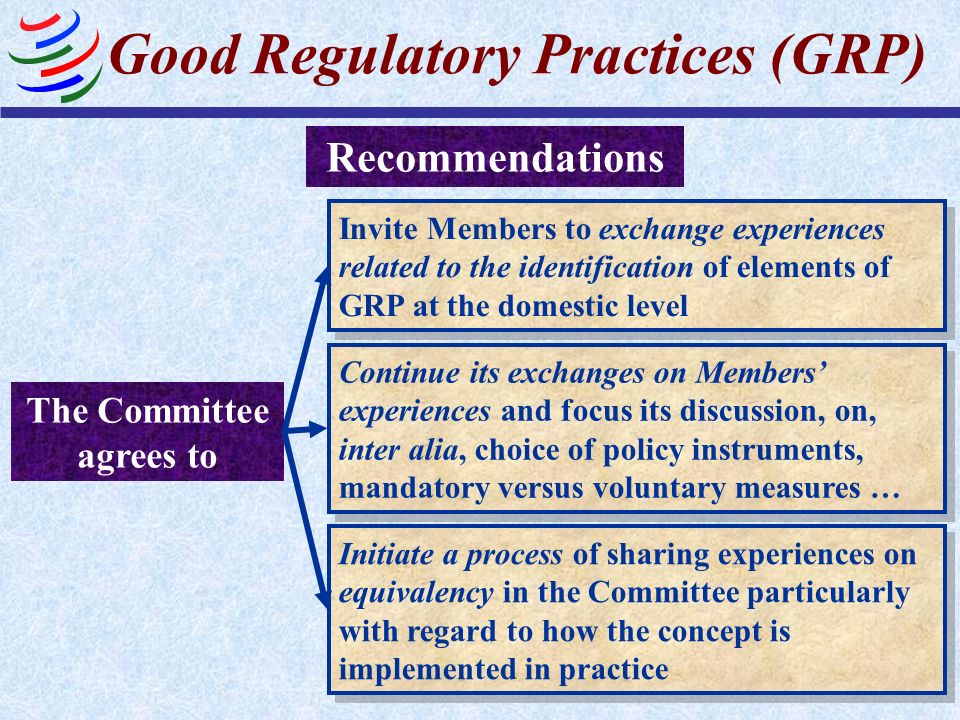 Good Regulatory Practices (GRP) Recommendations The Committee agrees to Invite Members to exchange experiences related to the identification of elemen