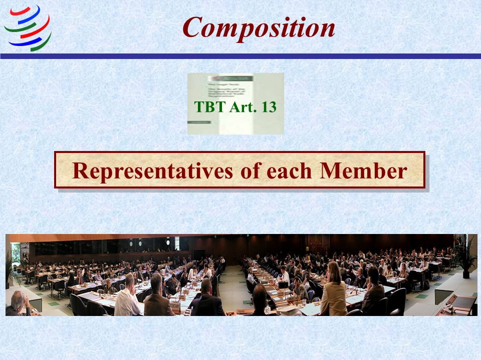 Representatives of each Member Composition TBT Art. 13