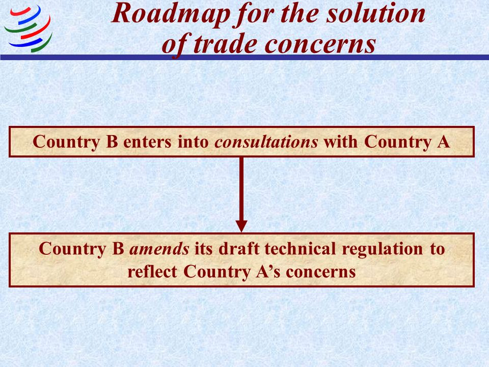 Country B amends its draft technical regulation to reflect Country As concerns Country B enters into consultations with Country A Roadmap for the solu