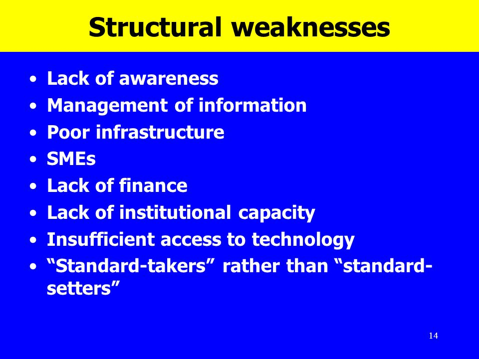 14 Structural weaknesses Lack of awareness Management of information Poor infrastructure SMEs Lack of finance Lack of institutional capacity Insuffici