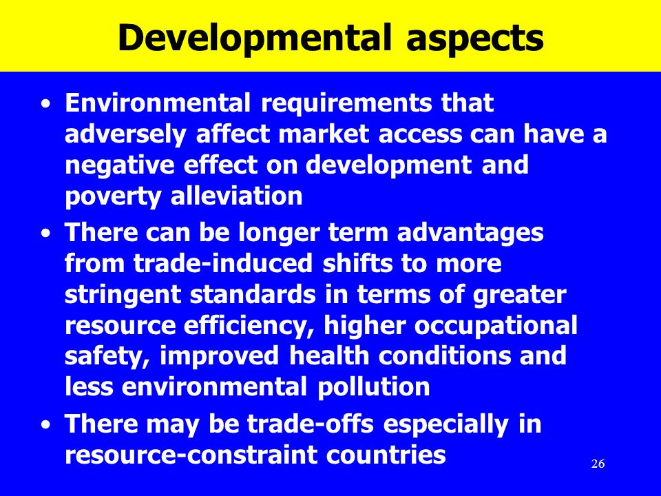 26 Developmental aspects Environmental requirements that adversely affect market access can have a negative effect on development and poverty alleviat