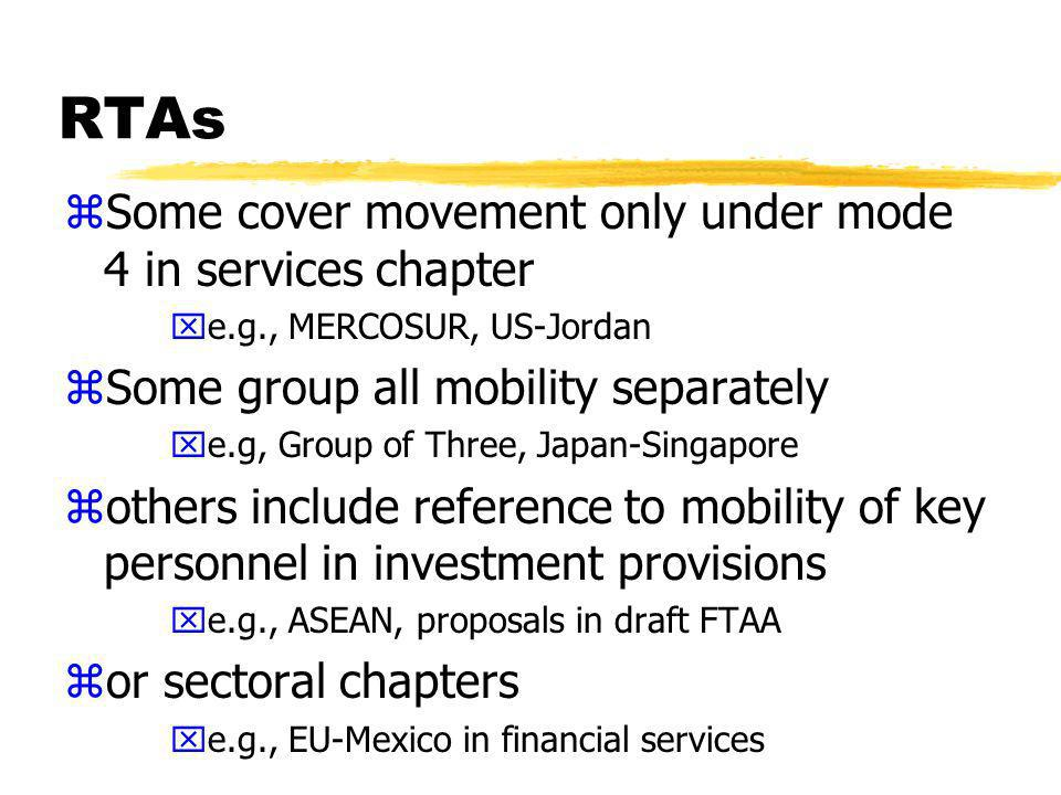 RTAs zSome cover movement only under mode 4 in services chapter xe.g., MERCOSUR, US-Jordan zSome group all mobility separately xe.g, Group of Three, Japan-Singapore zothers include reference to mobility of key personnel in investment provisions xe.g., ASEAN, proposals in draft FTAA zor sectoral chapters xe.g., EU-Mexico in financial services