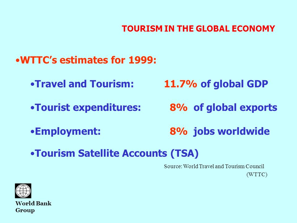 WTTCs estimates for 1999: Travel and Tourism:11.7% of global GDP Tourist expenditures: 8%of global exports Employment: 8%jobs worldwide Tourism Satell