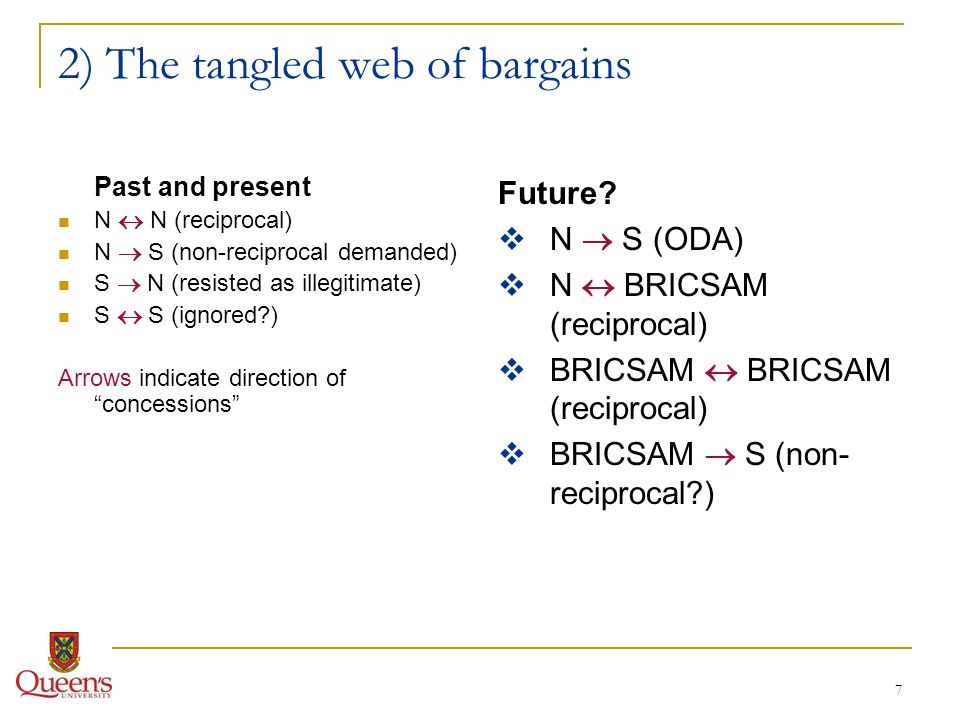 7 2) The tangled web of bargains Past and present N N (reciprocal) N S (non-reciprocal demanded) S N (resisted as illegitimate) S S (ignored?) Arrows