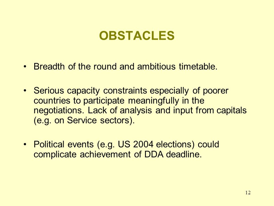 12 OBSTACLES Breadth of the round and ambitious timetable.