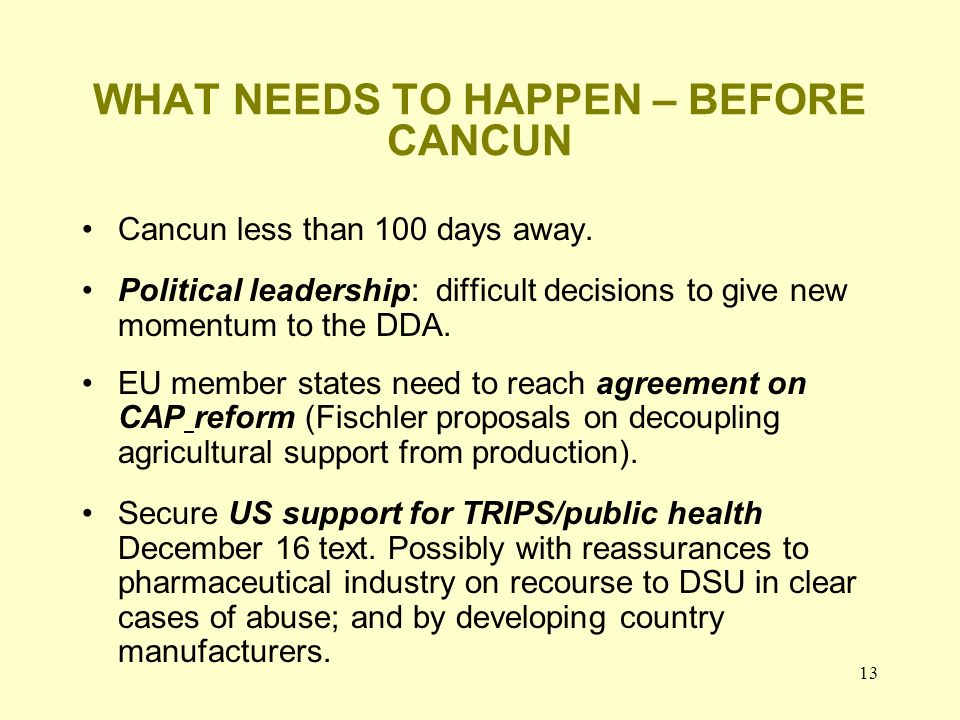 13 WHAT NEEDS TO HAPPEN – BEFORE CANCUN Cancun less than 100 days away. Political leadership: difficult decisions to give new momentum to the DDA. EU